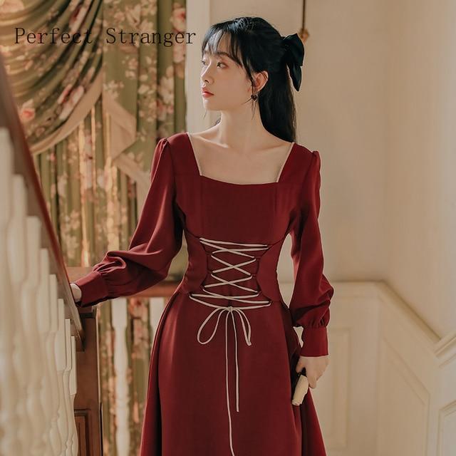 2020 Autumn New Arrival High Quality Retro Square Collar Bandage Long Sleeve Women Long Dress 3