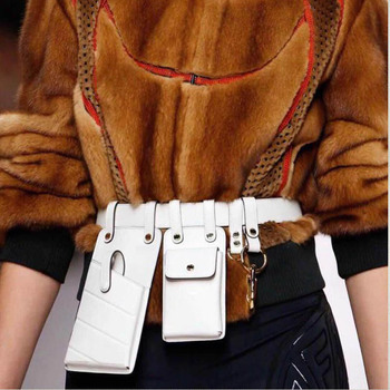 Women Waist Bag Fashion Leather Waist Belt Bag Crossbody Chest Bags Girl Fanny Pack Small Phone Pack Bum strap Packs A1234