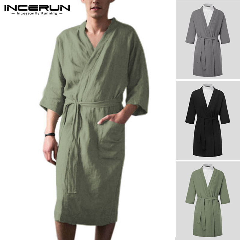 INCERUN 2019 Men Robes Homewear Cotton Linen Lacing V Neck 3/4 Sleeve Vintage Kimono Bathrobes Pockets Sleepwear Mens Nightgown