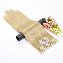 Aisi волос Синтетические прямые волосы, 16 клипс, 6 шт./компл. пряди для наращивания на заколках на всю голову, 15 Цвета жаростойкое