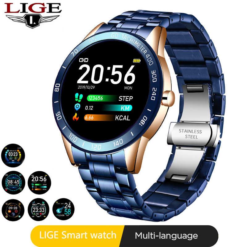 LIGE سوار فولاذي ساعة ذكية الرجال معدل ضربات القلب ضغط الدم رصد الرياضة متعددة الوظائف وضع جهاز تعقب للياقة البدنية مقاوم للماء Smartwatch