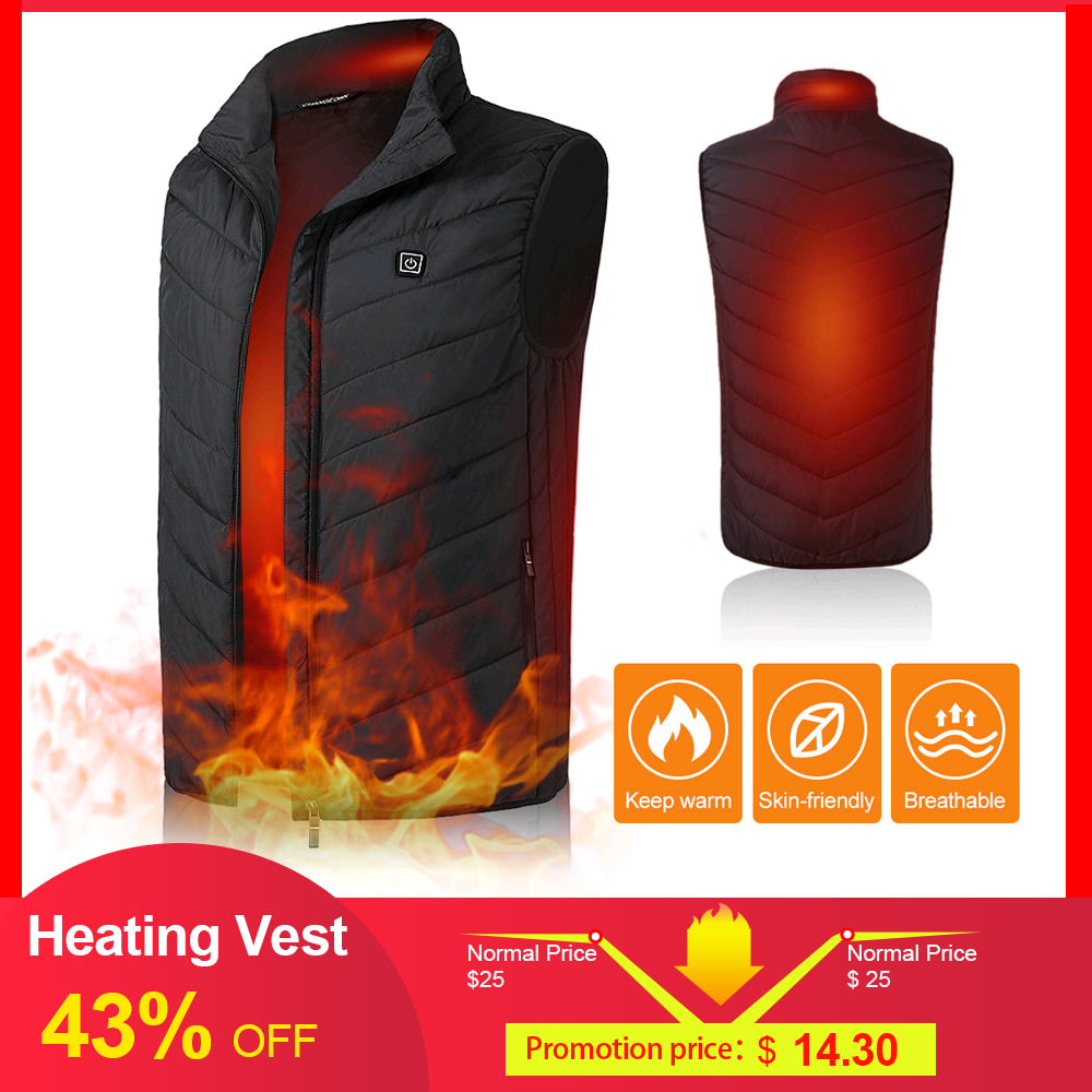 Heating Vest USB Charging Lightweight Winter Warm Waistcoat Electric Heated Coat Commuting Camping Ice Fishing Thermal Vest