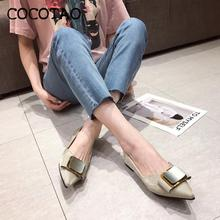 Fairy Style Single Shoes Women 2020 Summer Fashion Pointed Bow Comfortable Square Buckle Shallow Mouth Flat Women's Shoes Tide