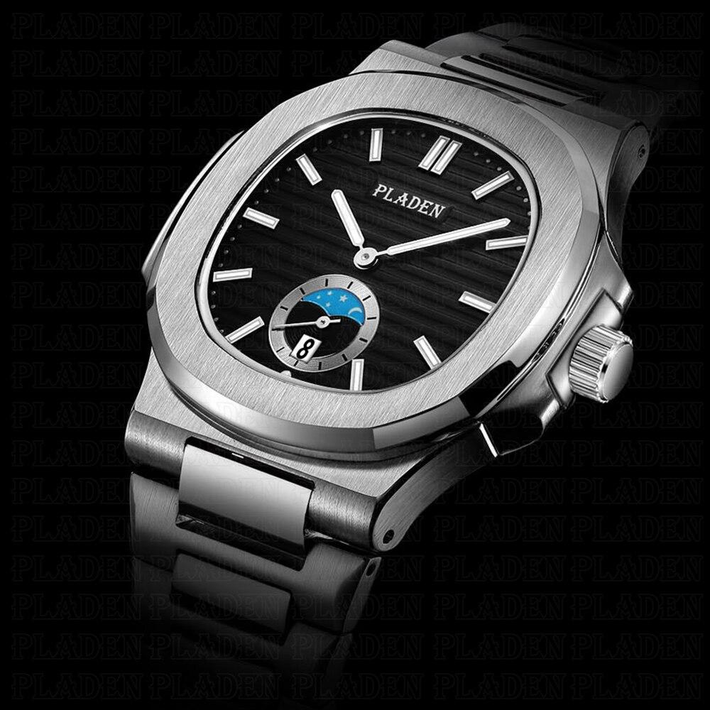 PLADEN классические мужские наручные часы из нержавеющей стали 316L Топ Роскошные мужские часы с черным циферблатом Хронограф Hour Horloges Mannen # PL1012