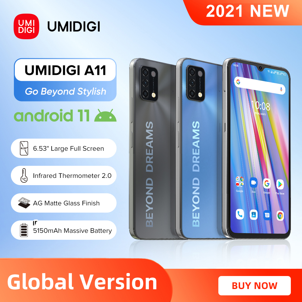[World Premiere] UMIDIGI A11 Global Version Android 11 Smartphone Helio G25 64GB 128GB 6.53