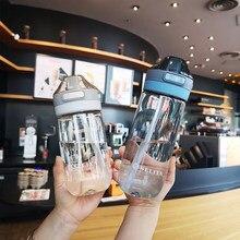 Garrafa de água portátil dos esportes de 500/650ml com bebida à prova de vazamento da palha bebendo com canecas da escala o suco plástico do curso drinkware