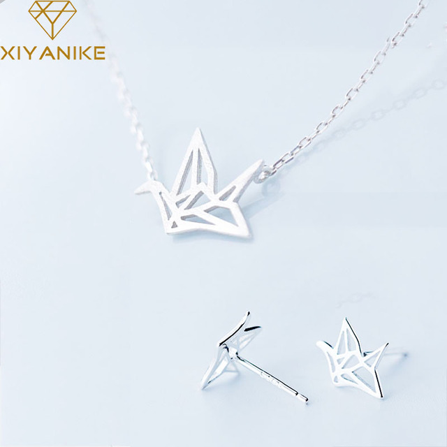 XIYANIKE Prevent Allergy 925 Sterling Silver Paper Crane Handmade Necklace+Earrings Jewelry Sets for Women Party Jewelry Gifts 1
