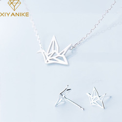 XIYANIKE Prevent Allergy 925 Sterling Silver Paper Crane Handmade Necklace+Earrings Jewelry Sets for Women Party Jewelry Gifts