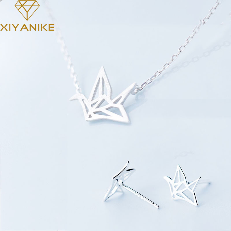 XIYANIKE collar + pendientes hechos a mano con grúa de papel de plata de ley 925 para prevenir las alergias, juegos de joyas para mujer, regalos de joyería para fiesta