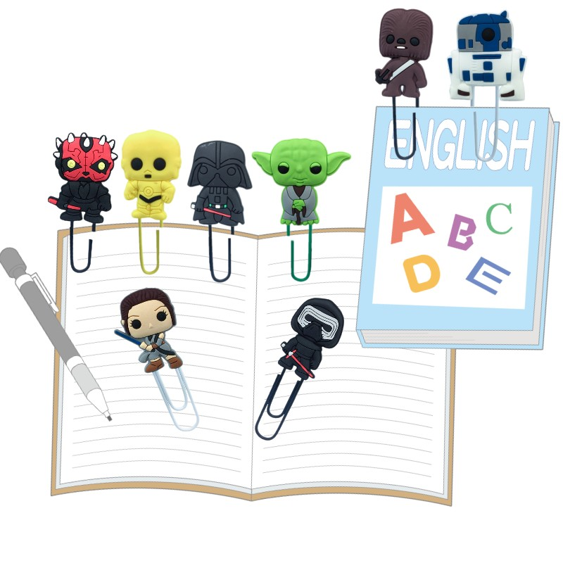 25pcs Star Wars Bookmarks For Books Action Figure Paper Clips Book Marks Page Holder For Students Teacher Kids Birthday Gift
