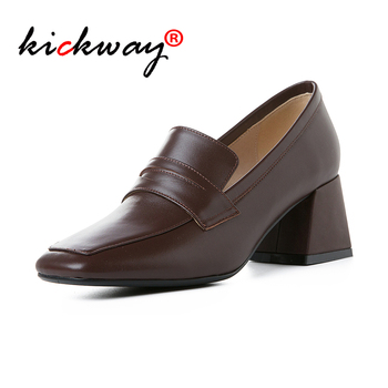 Women Shoes High Heel Pumps Genuine Leather Square Toe High Heel Brogues Square Thick High Heels Ladies Heels Large Size 34-43