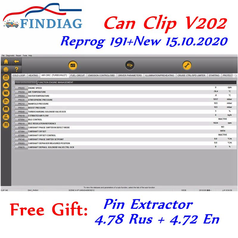 Atual mais recente lançamento v202 para renault pode clipe ferramenta de diagnóstico ativação do programa até 31.12.2029