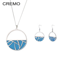 Cremo Delicate Stainless Steel Necklace Earrings Jewelry Set Drop Hanging Interchangeable Leather Dangle Women
