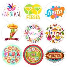 24/48pcs Fiesta Party Birthday Stickers Round Seal Sticker L