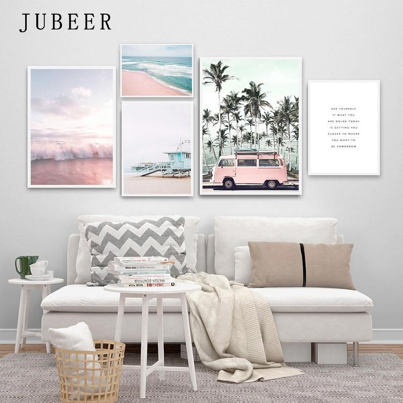 Océan paysage toile affiche Style nordique plage rose Bus mur Art impression peinture décoration photo scandinave décor à la maison