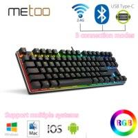 Metoo-Teclado mecánico X78, 87 teclas, inalámbrico, Bluetooth, 2,4 Ghz, tres modos, 80% RGB, luz trasera para ordenador, teléfono y tableta