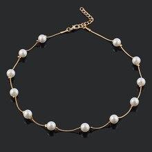 Simulierte Perle Perlen Halsketten frauen Goldene/Silber Überzug Retro Halskette Mode Choker Halsketten für Frauen geschenk & 15