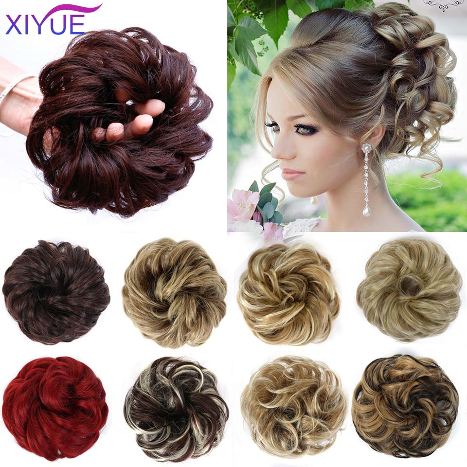 Шиньон XIYUE с зажимом для гульки волос, шиньон с кудрявыми волосами, шиньон с искусственными волосами, шиньон из синтетических волос для женщ...