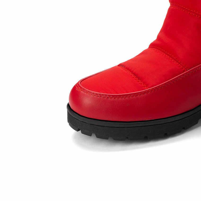 ESVEVA 2020 kış sıcak kürk kare topuk tatlı bayan ayakkabıları aşağı PU deri yuvarlak ayak platformu üzerinde kayma orta buzağı çizmeler boyutu 34-43