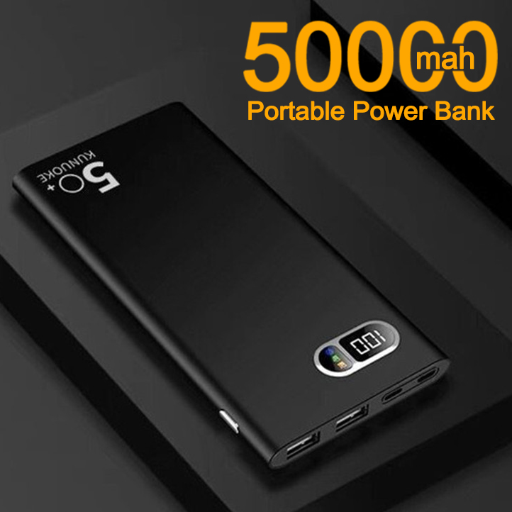 50000mAh Ultra-thin Power Bank with Digital Display 2 USB Ports Outdoor Travel Portable Powerbank for Xiaomi Samsung IPhone