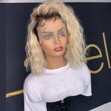 Человеческие волосы полностью кружевные парики Омбре блонд 1B613 натуральные волнистые бразильские волосы remy отбеленные волосы Konts бесклеевые парики с детскими волосами