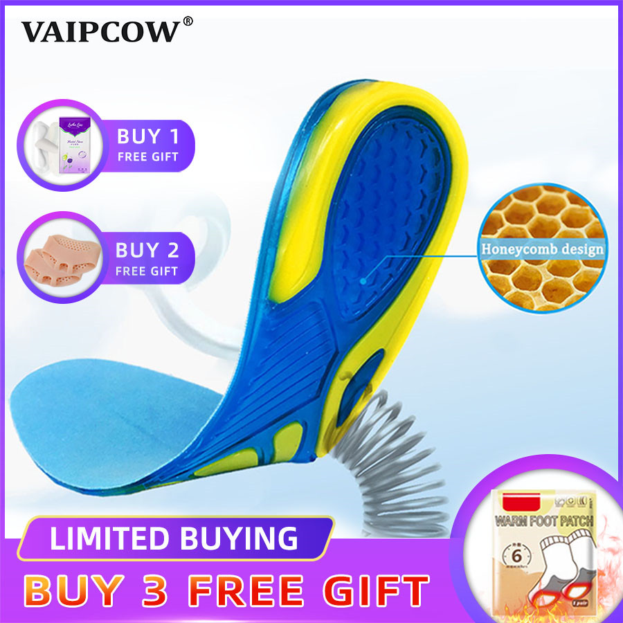 VAIPCOW Silicon Gel Insoles Foot Care For Plantar Fasciitis Orthopedic Massaging Shoe Inserts Shock Absorption Shoe Pad Unisex