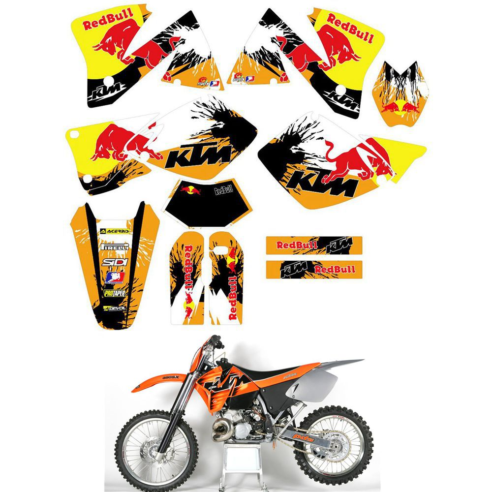 For KTM EXC125 200 250 300 380 400 520 1998 1999 2000 2001 2002 2003 Customized Number Graphics Backgrounds Stickers Kit Decal