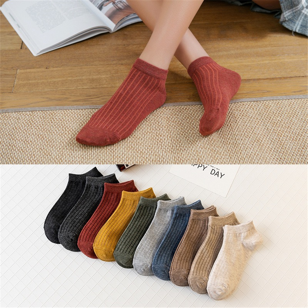 Women's Harajuku Summer Leisure Home Pure Color Cotton Socks Fashion Trend Comfortable Breathable College Girl Cute Boat Socks