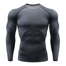 2019 sports T-shirt long-sleeved T-shirt shirt men's fashion round neck T-shirt compression breathable 3XL large size