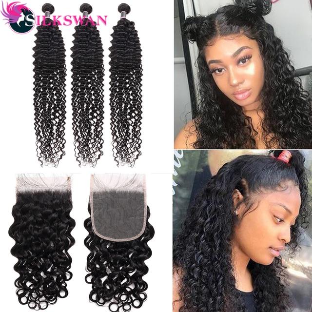 Extensiones de cabello humano Silkswan, con cierre de ondas de agua, cabello brasileño Remy, ondas, 4 unids/lote de extensiones de cabello humano para mujeres