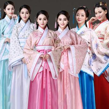 New Chinese Traditional Women Hanfu Dress Fairy Red White Clothing Tang Dynasty Ancient Costume