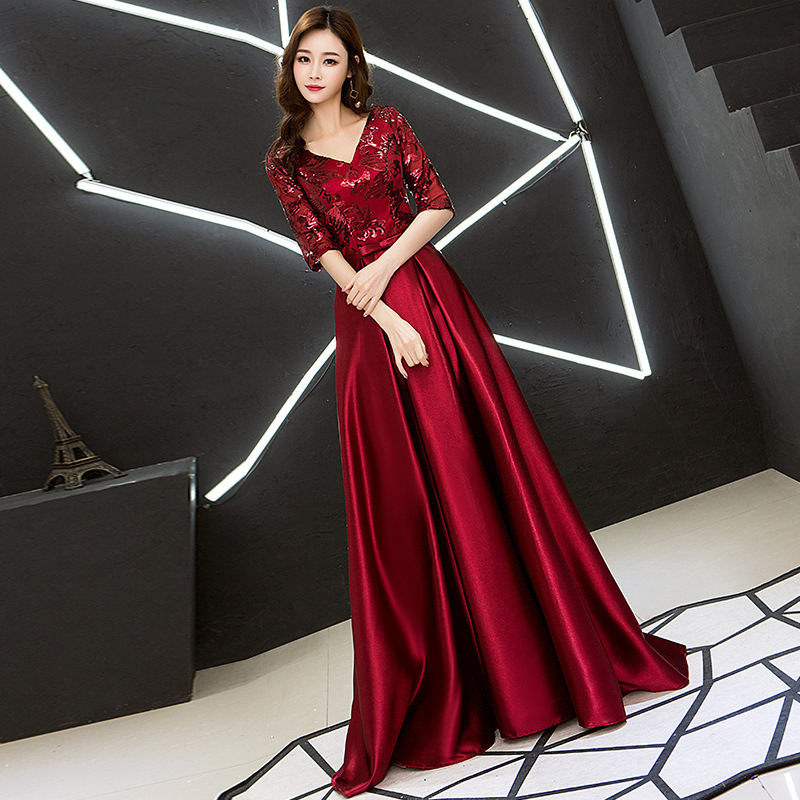 2020 Sale Bridesmaid Long Sleeve In V-neck Socialite Party Evening Wear Skirts The New 2020 Wedding Toast Costumes Chorus Girl
