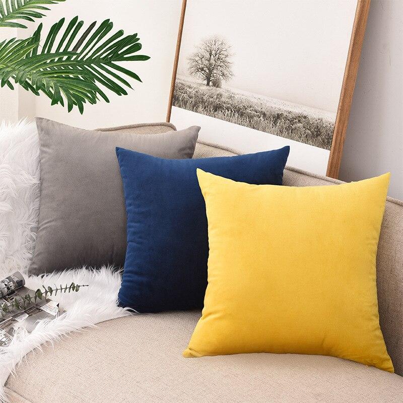 Cheap Modern Bedroom Pillow Case Pink Nordic Plain Velvet Pillowcase Rectangular Decorative 40x40cm