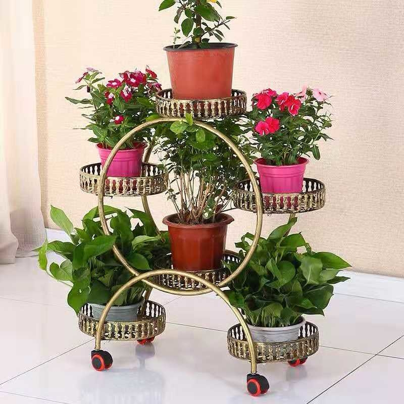 Iron Art Multi-storey Flower Airs Room Introspection Space Green Luo Balcony A Living Room Can Move Belt Round Flowerpot Frame