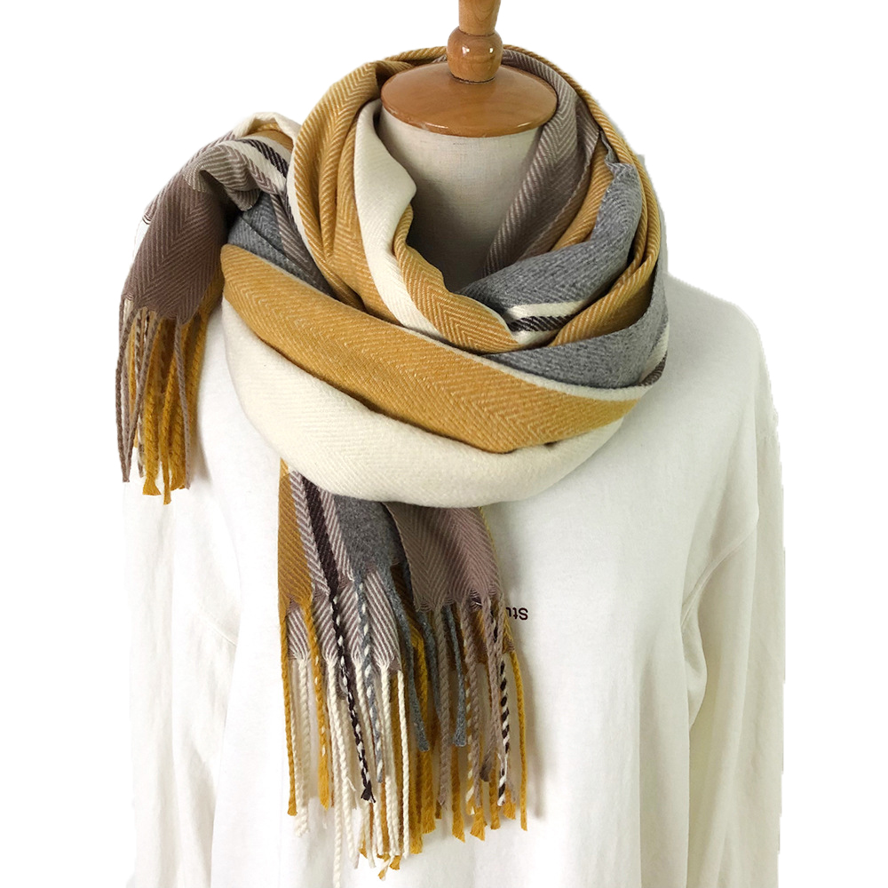 Fashion Plaid Thinker Warm Wool Cashmere Scarf Tassels Women Soft Winter Men Scarf