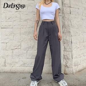 Darlingaga Fashion Elegant High Waist Pants Trousers Women Solid Casual Pockets Office Straight Ladies Pants Pantalon Femme 2020