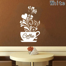 Creative Flower vine coffee cup wall sticker for Cafe restaurant decoration Decals wallpaper Hand carved kitchen sticker(China)