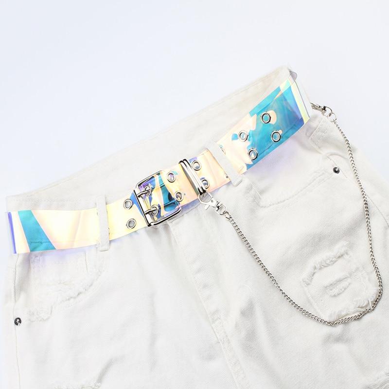 Fashion PVC Transparent Clear Belt Plus Size Waist Punk Belts For Women Designer White Cinturon Mujer Neon Color Pants Chain