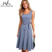 נחמד לנצח חדש קיץ מזדמן משובץ Cottagecore שמלות עם אבנט אונליין נשים התלקחות נדנדה שמלת A192