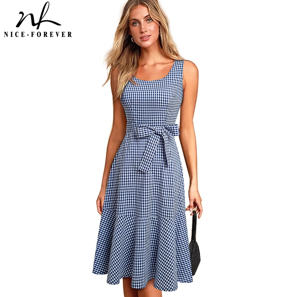 Nice-forever New Spring Casual Plaid Sleeveless Vestidos With Sash A-Line Women Flare Swing Dress A192