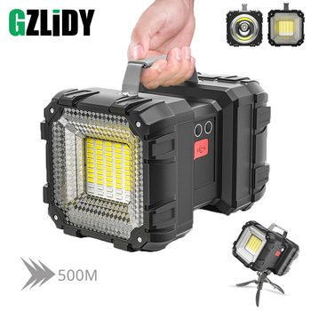 Powerful LED Flashlight XHP50 Waterproof Double Head Searchlight USB Rechargeable High Power Spotlight Lantern Torch with Base 1
