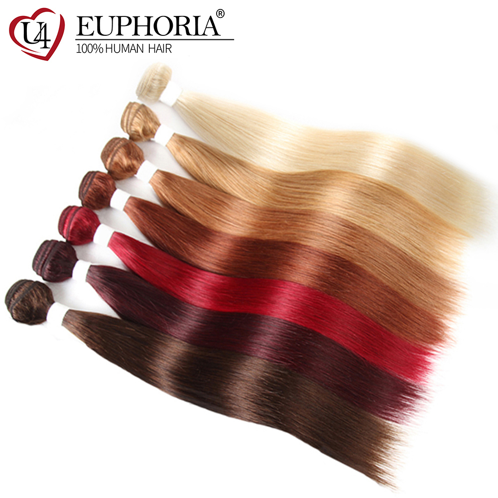Blonde 613 Brazilian Human Hair Weave 3/4 Bundles EUPHORIA Burgundy Red Pre-Colored Straight Remy Hair Weft Extensions 8-26inch