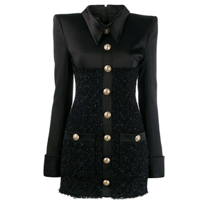 Image 2 - HIGH QUALITY New Fashion 2020 Runway Designer Dress Womens Long Sleeve Lion Metal Buttons Tweed Patchwork Dress