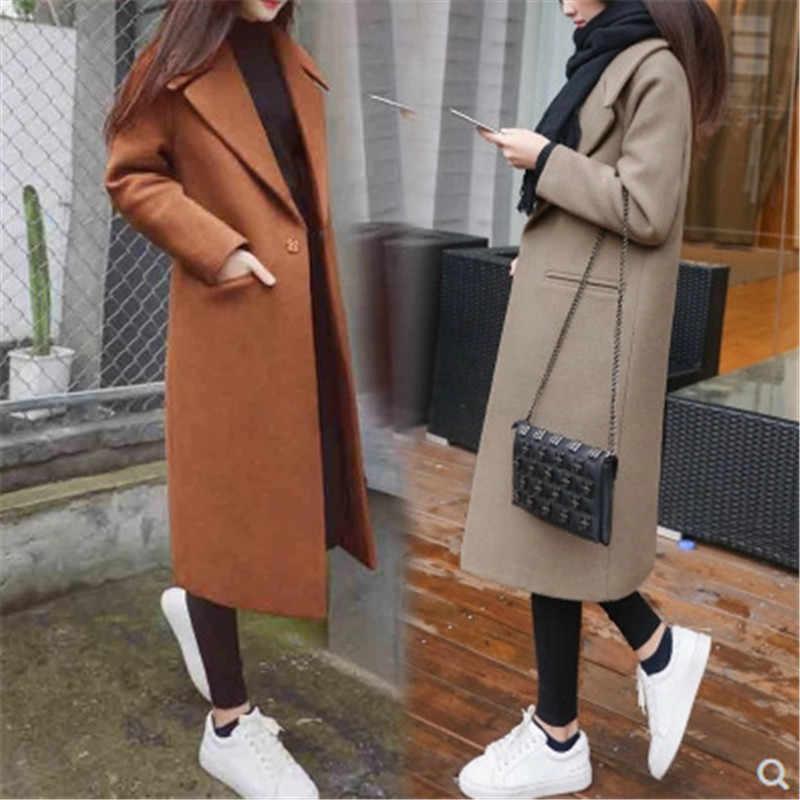 겨울 자켓 여성 블랙 보이 프렌드 자켓 여성 한국어 벨벳 코트 따뜻한 패션 캐주얼 롱 가디건 가을 울 재킷 케이프