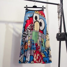 Women Maxi Skirt Fashion Cartoon Animal Printed Ankle-Length Skirts Elastic Waist Pleated High Waist A-line Skirt maxi high waist pleated a line dress