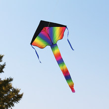 Colorful Rainbow Delta-shaped Flying Kite105 x 67cm Outdoor Beach Toys for Children Kids Handle Line Sports with Tail Ribbons(China)