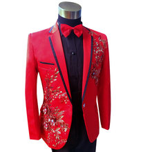 Red Mens Tuxedo Plus Size 3XL 4XL Men Sequin Blazer Suit Wedding Groom Suits DJ Prom Tuxedos Stage Singers(China)