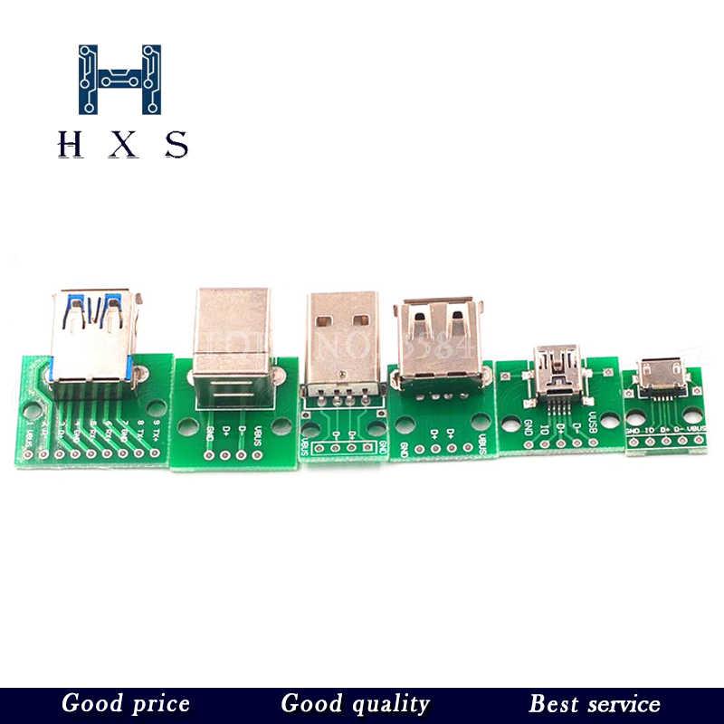 Micro Mini USB USB A Stecker USB 2,0 3,0 EINE Weibliche USB B Stecker Interface zu 2,54mm DIP PCB konverter Adapter Breakout-Board