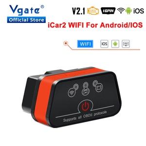 Image 1 - Vgate obd2 ELM327 icar2 strumento diagnostico WIFI Mini Car Scanner elm 327 V2.1 WIFI adattatore automatico per IOS/android OBD 2 lettore di codice