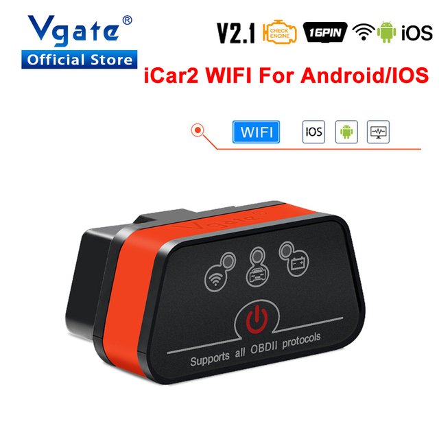 Vgate obd2 ELM327 icar2 strumento diagnostico WIFI Mini Car Scanner elm 327 V2.1 WIFI adattatore automatico per IOS/android OBD 2 lettore di codice